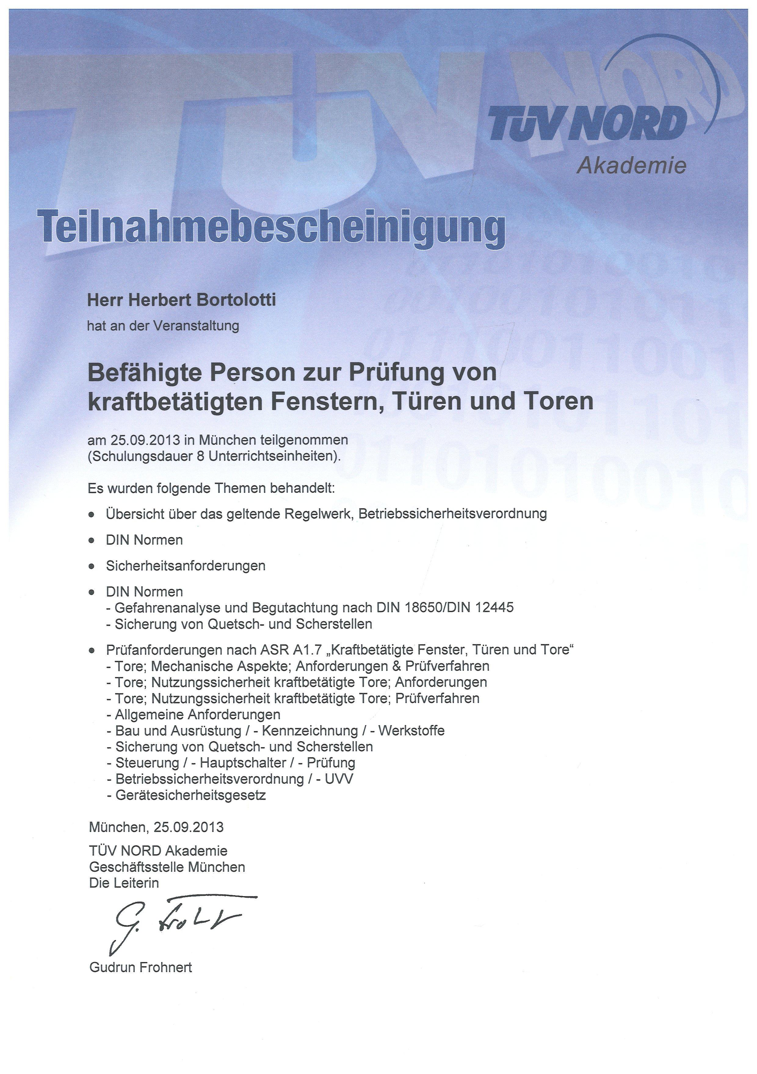 Teilnahmebescheinigung TÜV Nord
